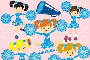 Blue cheerleaders clipart AMB-203