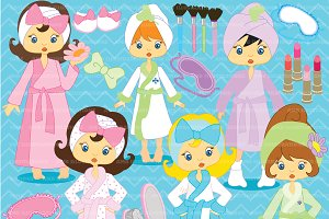 Spa Day Girls Clipart AMB-206
