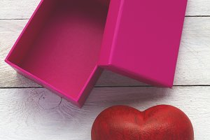 Heart and pink box