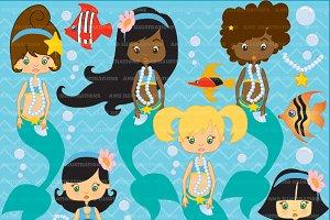 Mermaids Clipart, AMB-208