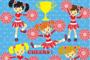 Red Cheerleaders Clipart AMB-213