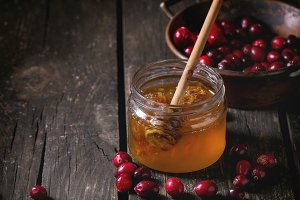 Honey and cranberries