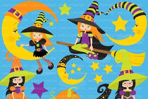 Little Witches Clipart AMB-216