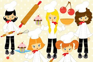 Little Girl Chefs Clipart AMB-218