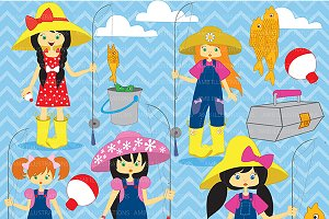 Fishing Girls Clipart AMB-223