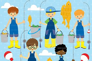 Boys Gone Fishing Clipart AMB-224