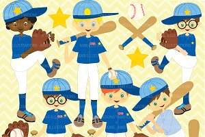 Boys Baseball Team Clipart AMB-227