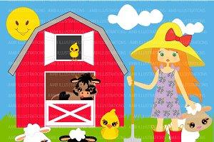 Farmer Girl clipart AMB-243