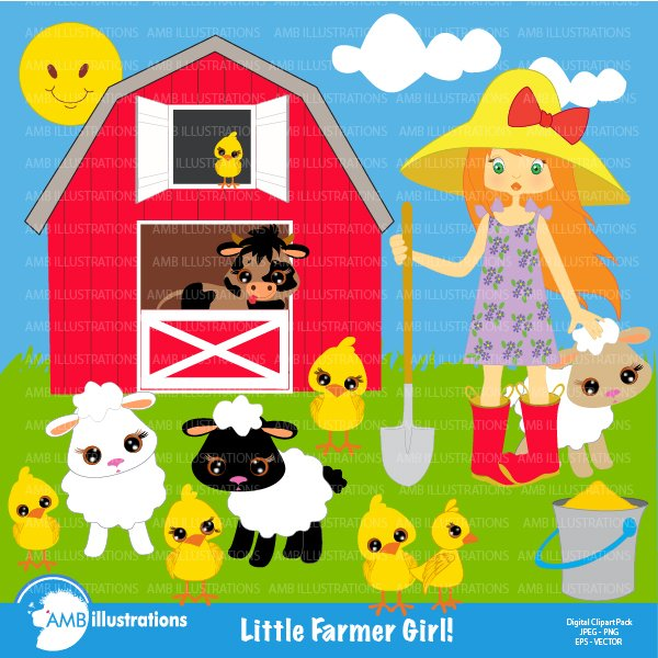 Farmer Girl Clipart Amb 243 Illustrations Creative Market