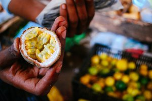Passion fruit at market in Africa
