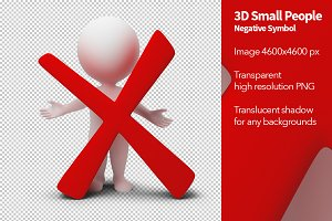 3D Small People - Negative Symbol
