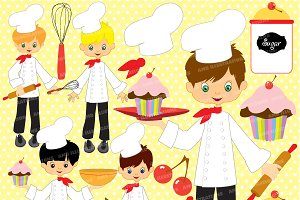 Little Boy Chefs Clipart AMB-254