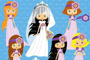 Bridal Party Purple Cliparts AMB-257
