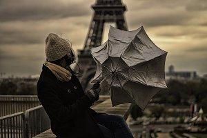 Girl with umbrella,Paris