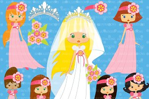 Bridal Party in Pink Clipart AMB-259