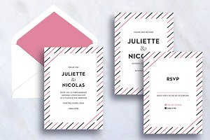 Modern Wedding Invite with Stripes