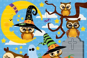 Halloween Owls Clipart AMB-265