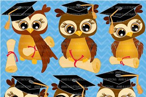 Graduating Owls Clipart AMB-266
