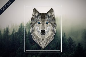 Geometric Wolf Vector Illustration