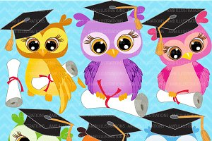 Graduating Owls Clipart AMB-267