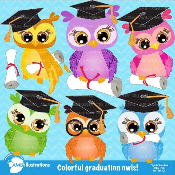 Graduating Owls Clipart Amb 267 Illustrations Creative Market