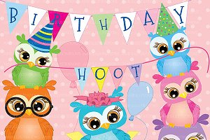 Birthday Owl Clipart AMB-268