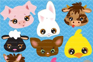 Farm Animal Faces Clipart AMB-272