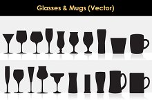 Glasses & Mugs Vector (silhouettes)