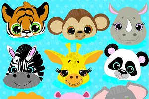 Jungle Animal Faces Clipart AMB-273