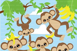 Monkey Bash Clipart AMB-275