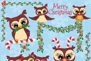 Christmas Owl Clipart AMB-278