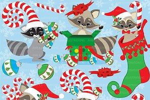 Christmas Raccoons Clipart AMB-281