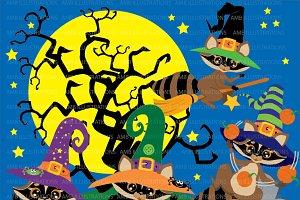 Halloween Raccoons Clipart AMB-282