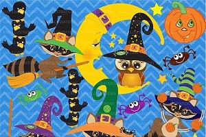 Halloween Raccoons Clipart AMB-297