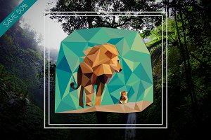 Lion and Cub Vector Illustration