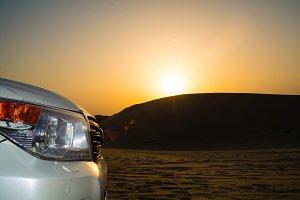 desert sunset car