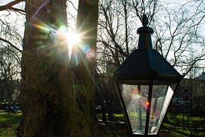 London city park street lamp