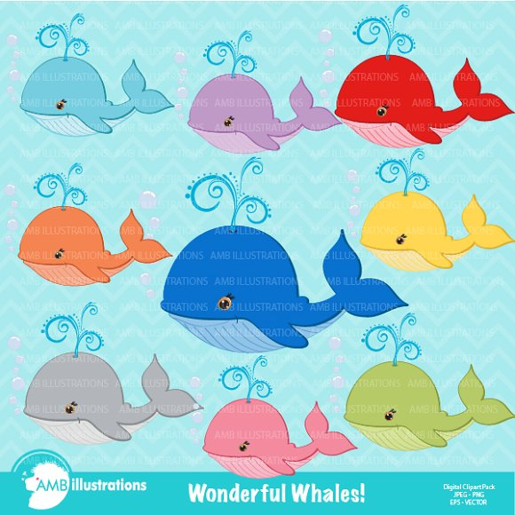 Colorful Whales Clipart AMB-309