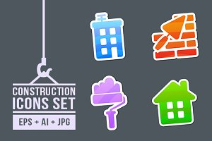4 Stickers Construction Icons