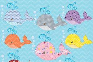 Colorful Whales Clipart AMB-310
