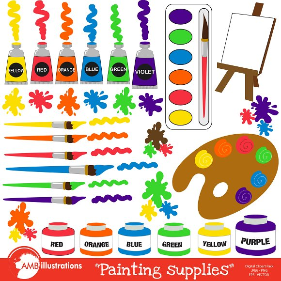 Painting Supplies Clipart AMB-317