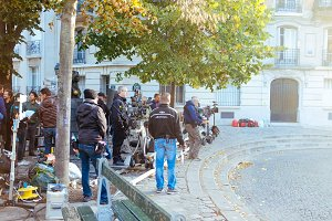Making a film on Paris street