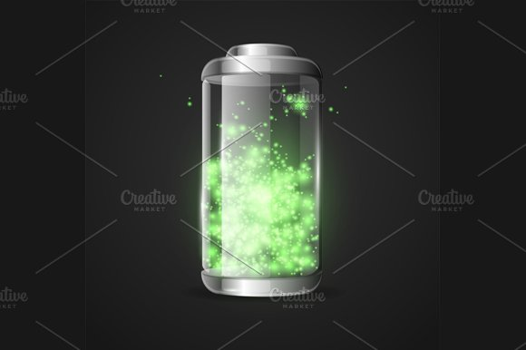 Detailed Glossy Battery. Vector - Objects