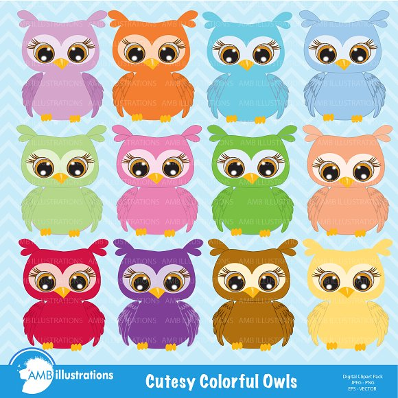 Colorful Owls Clipart AMB-350