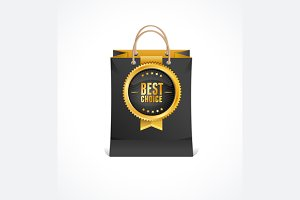 Paper Bag and Gold Label. Vector