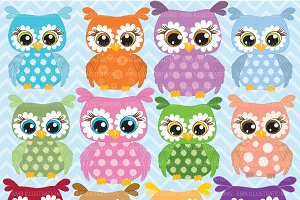 Colorful Floral Owls Clipart AMB-351