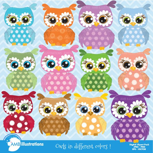 Colorful Floral Owls Clipart AMB-351 in Illustrations