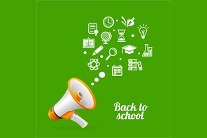 Megaphone and Icons Back to School