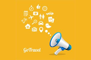 Megaphone and Icons Travel Concept
