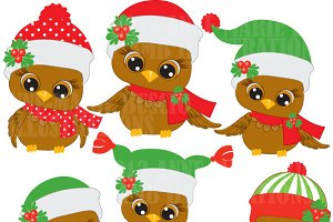 Cute Christmas Owls Clipart AMB-352